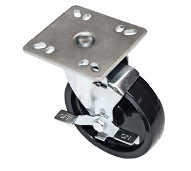 "Component Hardware- Caster, 5"" diameter, swivel, 4"" x 4"" universal mount plate, side brake, gray wheel (CMPU-5RBB)"