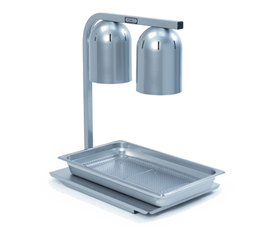 Nemco - Two Bulb Free-Standing Infrared Bulb Warmer with Pan & Screen Set | Public Kitchen Supply