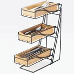 Cal-Mil - Black 3-Tier Flatware Display (Bamboo Bins) | Public Kitchen Supply