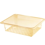 "Cambro - Half 1/2 Size x 3"" Deep High-Heat Colander Food Pan (Amber) 