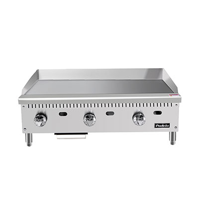 "Padela- Heavy Duty Griddle, gas, countertop, 36.0""W x 28.6""D x 15.2""H, (35.7""W 19.9""D cooking area), (3) stainless steel burners, (PCMG-36)"
