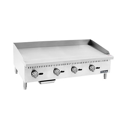 "Padela- Heavy Duty Griddle, gas, countertop, 48.0""W x 28.6""D x 15.2""H, (47.9""W 19.9""D cooking area), (4) stainless steel burners, (PCMG-48)"