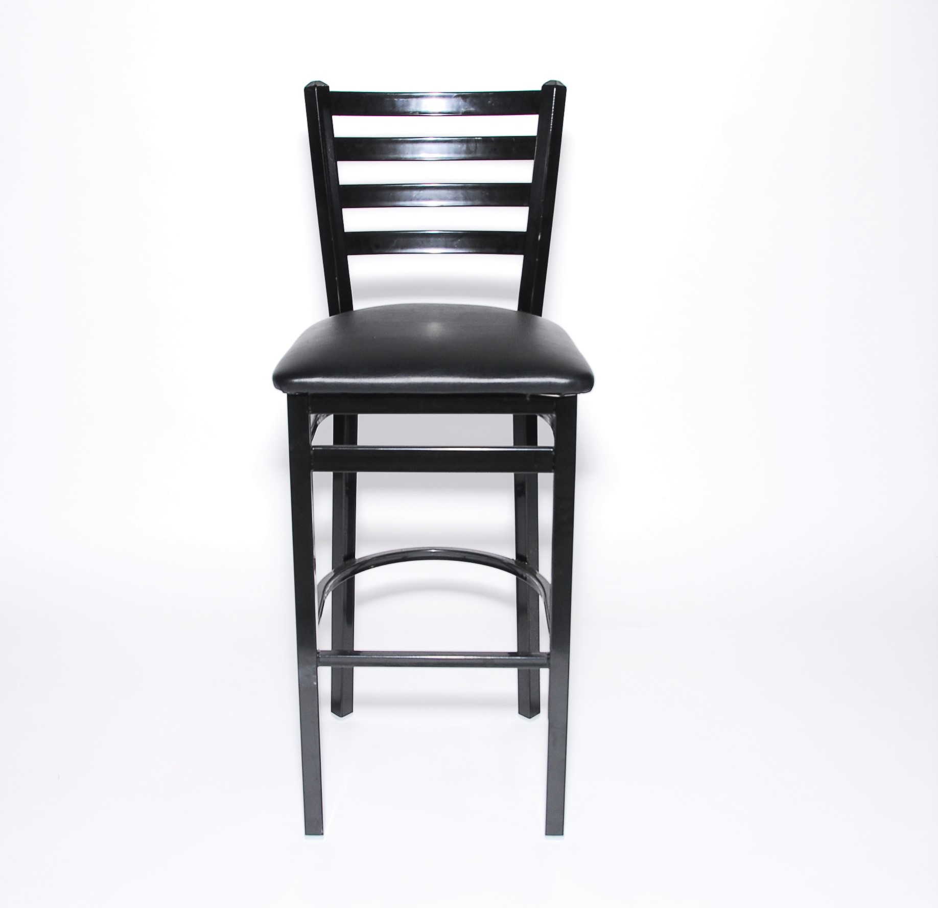 Iron Guard-2301 Bar Stool Black, LadderBack Frame - Black Vinyl Seat, Matte Finish| Public Kitchen Supply