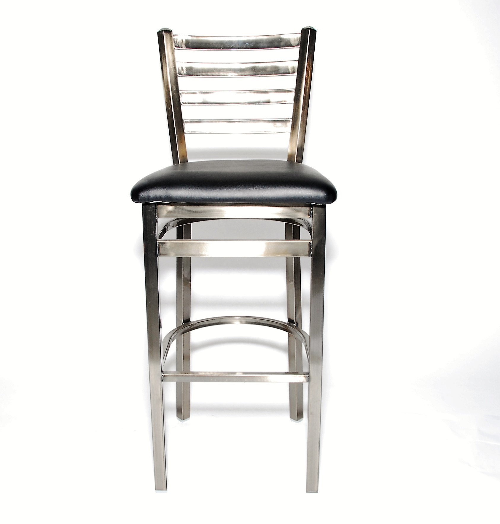 Iron Guard-2301 Bar Stool Clear, Ladderback Frame - Black Vinyl Seat, Gloss Finish| Public Kitchen Supply