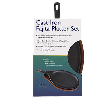 Update International - 15 x 7 Cast Iron Fajita Platter Set | Public Kitchen Supply