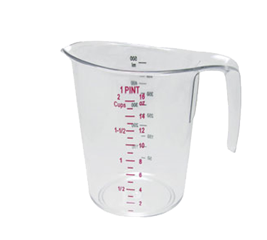 Update International - 1 pint Clear Dry Measuring Cup | Public Kitchen Supply