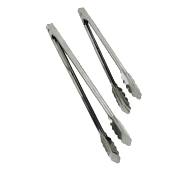 "Update International - 12"""" Heavy Duty Spring Tongs (SS) 