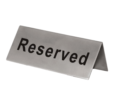 "Update International - 2 x 4"""" Stainless Reserved Sign 